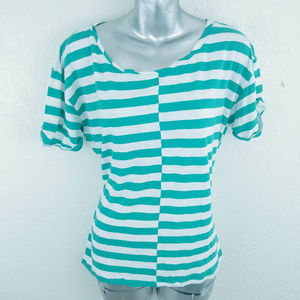Caslon Stripe Short Sleeve Scoop Top M